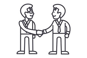 businessmen handshake,partnership vector line icon, sign, illustration on background, editable strokes