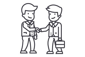 businessmen handshaking vector line icon, sign, illustration on background, editable strokes