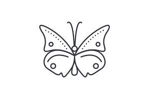butterfly vector line icon, sign, illustration on background, editable strokes