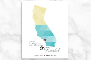 California Heart Wedding Print Gift
