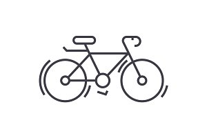bycicle vector line icon, sign, illustration on background, editable strokes