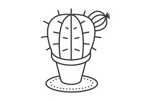 cactus vector line icon, sign, illustration on background, editable strokes