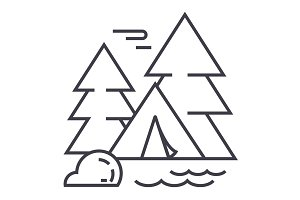 camping tent in forest vector line icon, sign, illustration on background, editable strokes