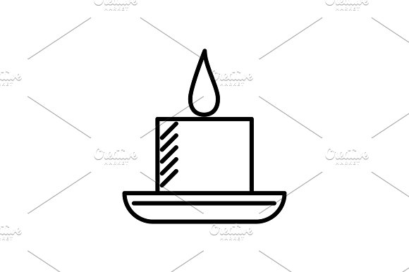 Candle In Spa Vector Line Icon Sign Illustration On Background Editable Strokes
