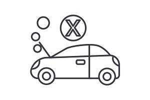 car broke vector line icon, sign, illustration on background, editable strokes