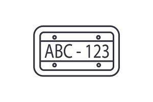 car number vector line icon, sign, illustration on background, editable strokes