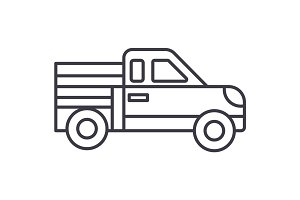 car pickup vector line icon, sign, illustration on background, editable strokes