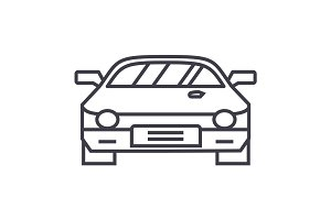 car race,racing vector line icon, sign, illustration on background, editable strokes
