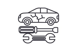 car service vector line icon, sign, illustration on background, editable strokes