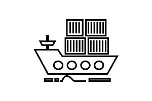 cargo delivery by sea ship vector line icon, sign, illustration on background, editable strokes