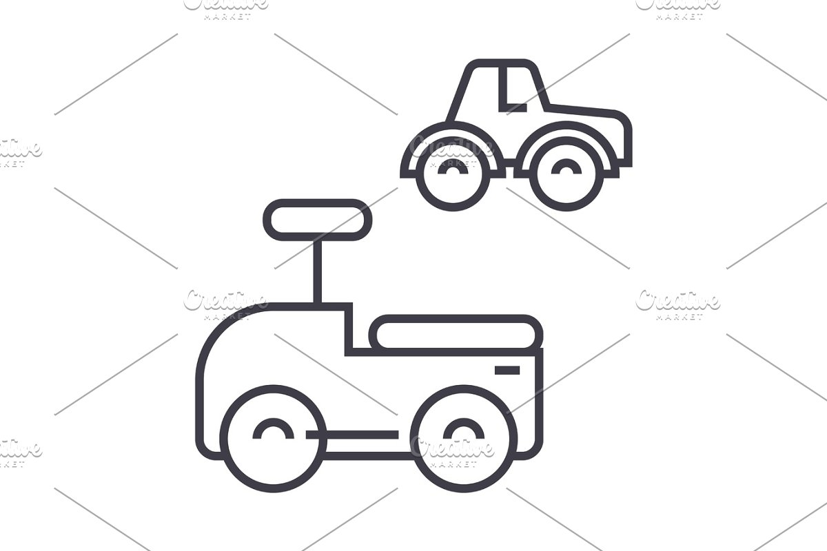 cars toys vector line icon, sign, illustration on background, editable  strokes
