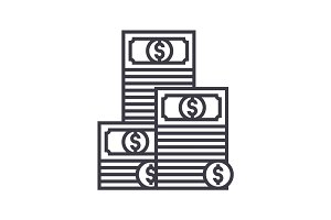 cash,pile of banknotes vector line icon, sign, illustration on background, editable strokes