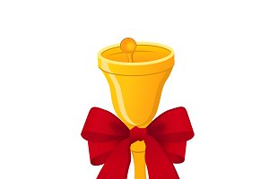golden bell with bow, vector