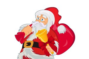 Santa Clause with gift bag and bell