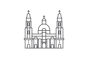 cathedral church vector line icon, sign, illustration on background, editable strokes