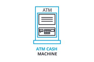 atm cash machine concept , outline icon, linear sign, thin line pictogram, logo, flat illustration, vector