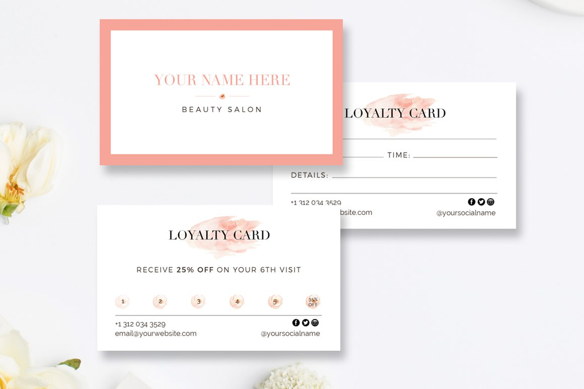 hairstylist loyalty reward cards business card templates creative market. Black Bedroom Furniture Sets. Home Design Ideas