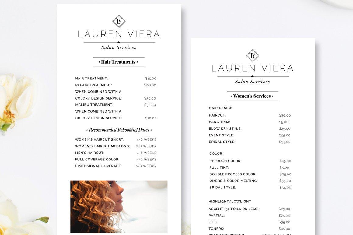 Modern salon price list template flyer templates creative market salon price list maxwellsz
