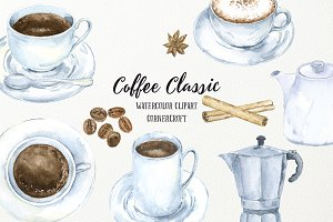 Watercolor Coffee Classic