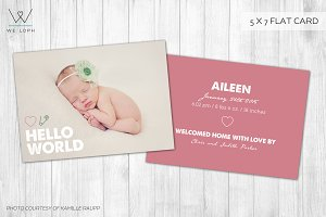 New Born Card Template - Hello World