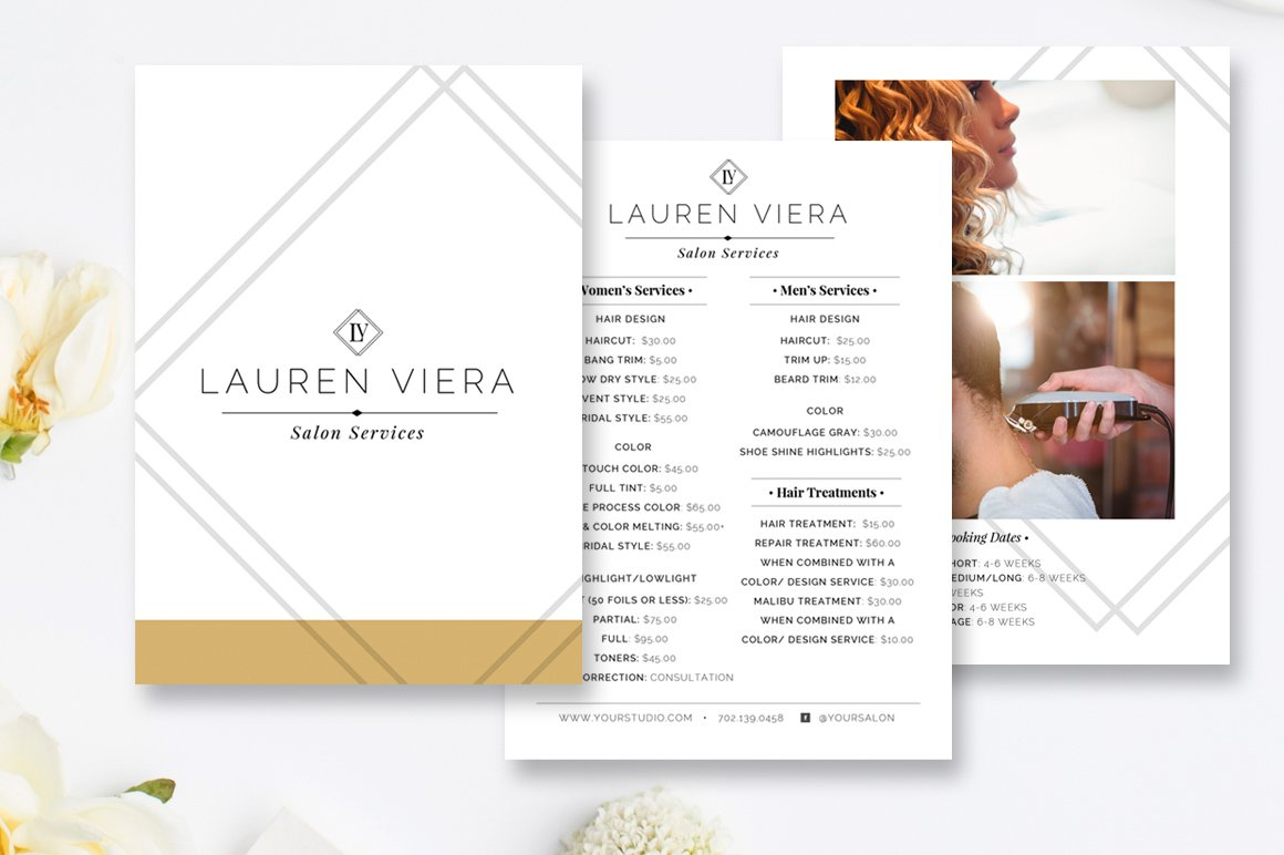Hairstylist price menu salon menu flyer templates creative market maxwellsz