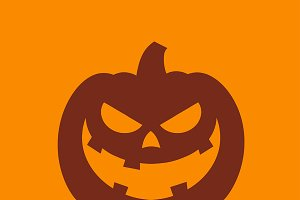 Halloween Pumpkin Cartoon Evil Face