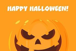 Halloween Pumpkin Cartoon Emoji Face