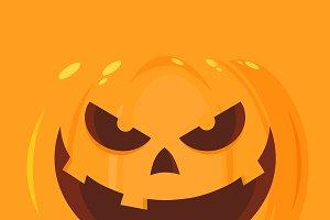 Evil Halloween Pumpkin Flat Design