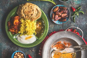 Indian meals served on rustic table