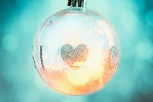 Hanging Christmas bauble with heart