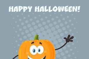 Happy Pumpkin Cartoon Character