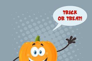 Pumpkin Speech Bubble And Text