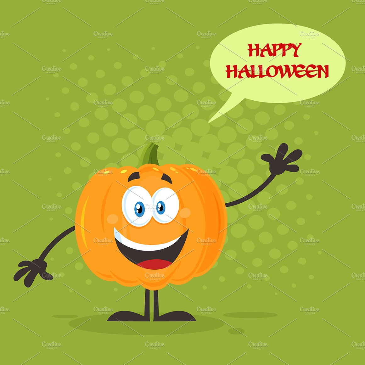 Orange Pumpkin Waving For Greeting Illustrations Creative Market