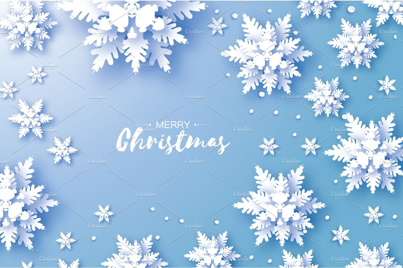 origami snowfall merry christmas greetings card white paper cut snow flake happy new