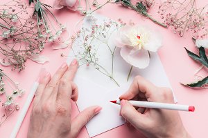 Hand write on envelope with flowers