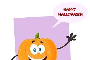 Halloween Pumpkin Emoji Character