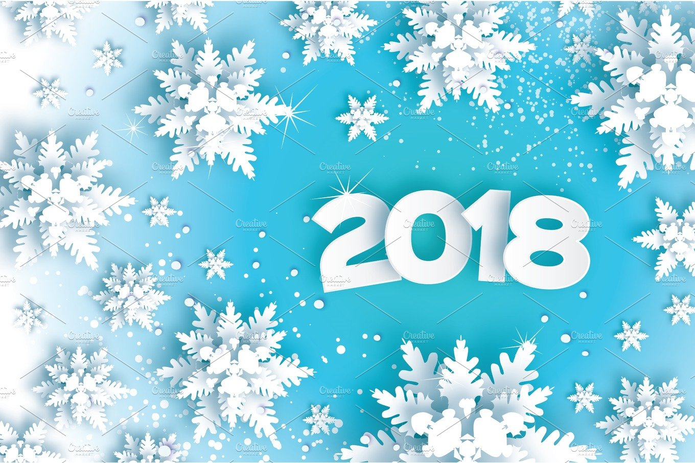 2018 happy new year background blue greetings card for christmas invitations paper cut snow