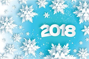 2018 Happy New Year Background. Blue Greetings Card for Christmas invitations. Paper cut snow flake. Paper cut Winter snowflakes. Space for Text. Vector