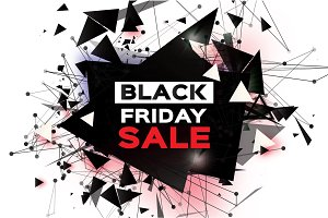 Black Friday Sale. Realistic fiery explosion. Big Sale. Discount. Trendy Geometric elemets and frame in paper cut style. For brochure, flyer. Simple geometry. White background. Vector