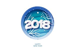 2018 Happy New Year Background. Wild nature. Greetings Card for Christmas invitations. Paper cut snow flake. Circle frame. Text. Origami Mountains. Blue. Vector