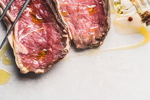 Close up of raw beef steaks