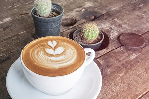 cup of coffee latte on desk