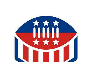 American Football USA Flag Crest