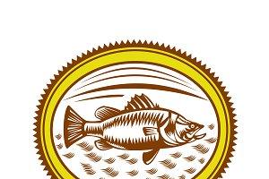 Saltwater Barramundi Rosette Woodcut