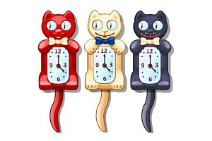 Set of wall clocks with funny cats