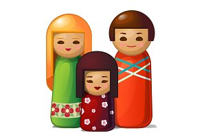 Japanese doll - woman, man and child