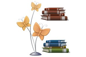 Books and interior decor butterflies. Vector