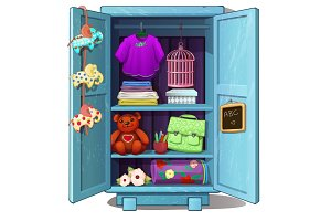 Childrens wardrobe with clothes, toys and stuff