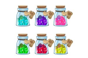 Jars with colorful crystals in cartoon style