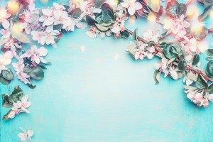 Spring blossom on blue shabby chic